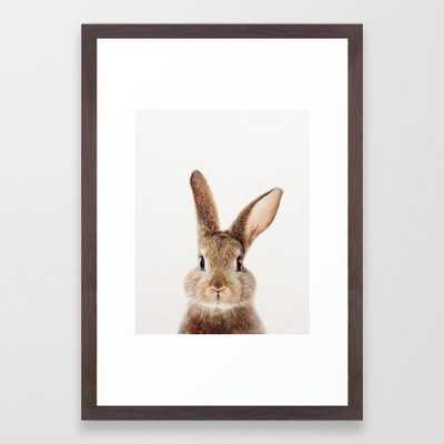 Baby Rabbit, Baby Animals Art Print By Synplus Framed Art Print - 15x21 - Conservation Walnut - Society6
