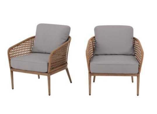 Hampton Bay Coral Vista Brown Wicker Outdoor Patio Dining Chair with CushionGuard Stone Gray Cushions (2-Pack) - Home Depot