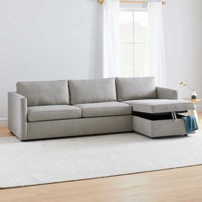 Harris Sectional Set 71: Left Arm Storage Sofa, Right Arm Storage Chaise, Poly, Twill, Platinum, Concealed Support - West Elm