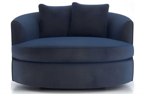 Tillie Grand Swivel Chair View, Navy - Crate and Barrel