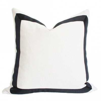 Solid White with Grosgrain Ribbon Border - 22x22 pillow cover / Black - Arianna Belle