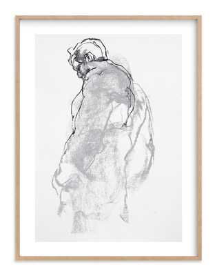 drawing 357 - figure from the side-30x40 - natural raw wood frame, white border - Minted