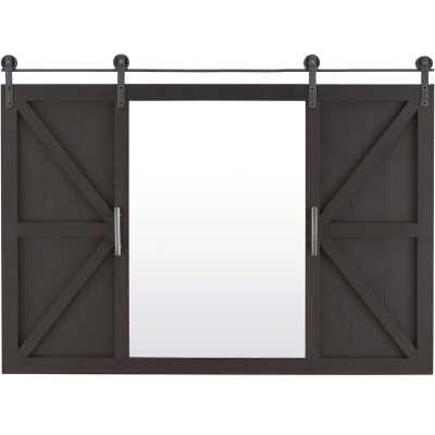 Lionville Barn Door with Shelves Accent Mirror - Wayfair