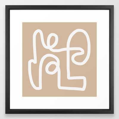 "beige squiggle Framed Art Print, 22"" x 22"", Vector black frame - Society6"
