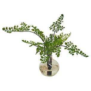 "14"" Maidenhair Fern in Vase, Faux - One Kings Lane"