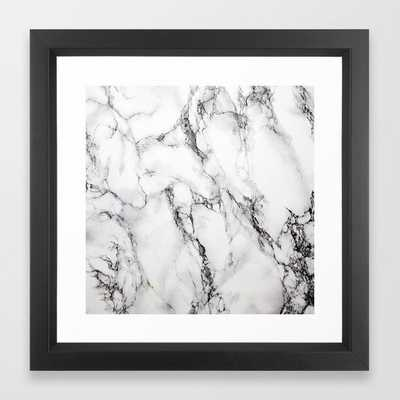 White Marble Texture - Vector Black - Society6