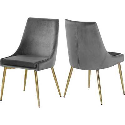 Karina Upholstered Dining Chair, Gray, Gold legs (set of two) - Wayfair