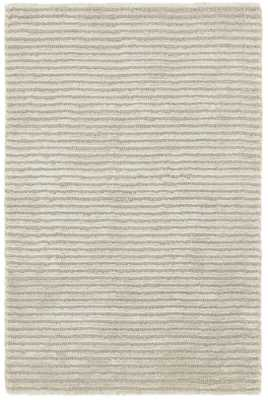CUT STRIPE SILVER VISCOSE HAND KNOTTED RUG 9'x12' - Dash and Albert