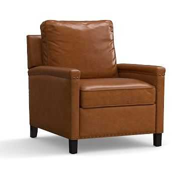 Tyler Square Arm Leather Recliner With Bronze Nailheads, Down Blend Wrapped Cushions, Vintage Caramel - Pottery Barn