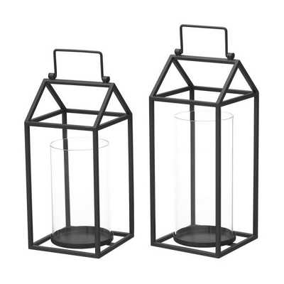 StyleWell Black Metal and Glass Candle Hanging or Tabletop Lantern (Set of 2) - Home Depot