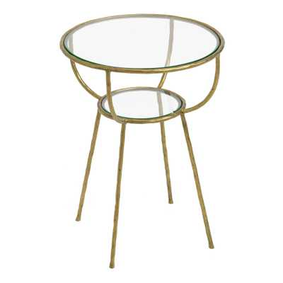 Round Glass And Gold Hammered Metal Hali Accent Table - World Market/Cost Plus