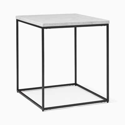 Streamline Square Side Table, Marble/Antique Bronze - West Elm