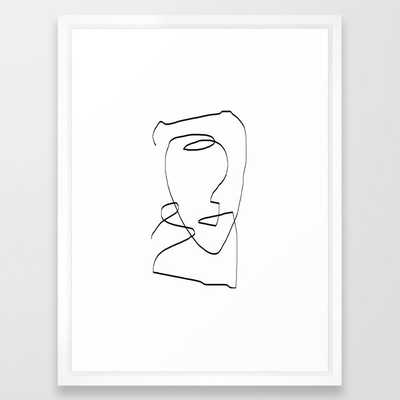 "Abstract head - 20""  x 26"" - vector white - Society6"