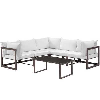 FORTUNA 6 PIECE OUTDOOR PATIO SECTIONAL SOFA SET IN BROWN WHITE - Modway Furniture