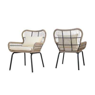 Mcclurg Patio Chair with Cushions, Black/Beige, set of 2 - Wayfair