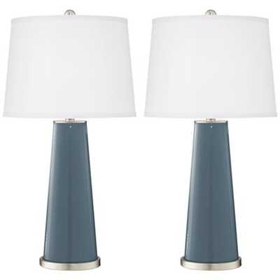 Smoky Blue Leo Table Lamp Set of 2 - Style # 17R55 - Lamps Plus