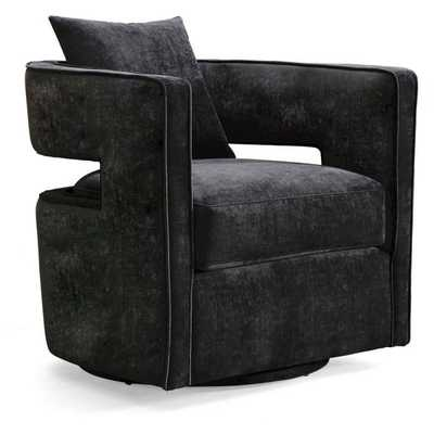 TOV Furniture Velvet Swivel Kennedy Chair in Black - Hayneedle