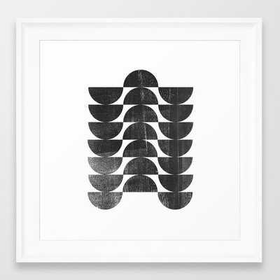 Mid Century Modern Op Art Black and White Pattern Framed Art Print - Society6