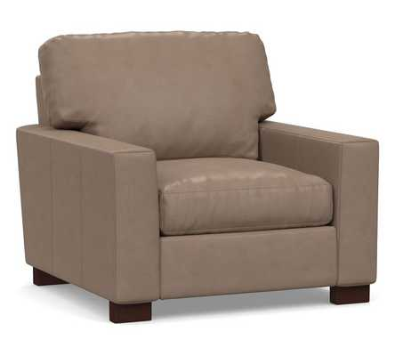 """Turner Square Arm Leather Grand Armchair 43"""", Down Blend Wrapped Cushions, Legacy Taupe - Pottery Barn"""