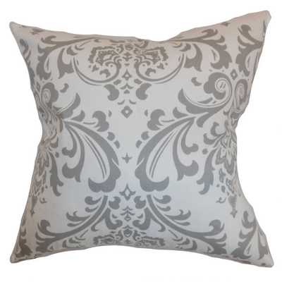 """Olavarria Damask Pillow Storm Twill-20"""" sq-with down insert - Linen & Seam"""