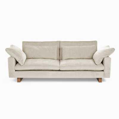 "Harmony Grand 92"" Sofa, Distressed Velvet, Light Taupe - West Elm"