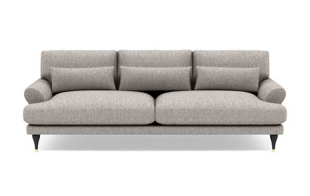 Maxwell Sofa with Earth Cross Weave Fabric and Matte Black with Brass Cap legs - Interior Define