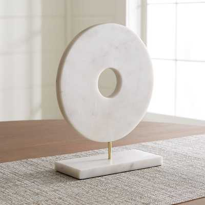 White Marble Circle on Stand - Crate and Barrel