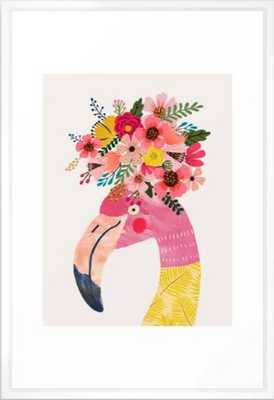 Pink flamingo with flowers on head Framed Art Print - Society6