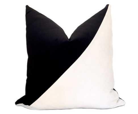 Slash Velvet Pillow Cover - Black and White - Willa Skye