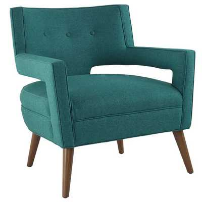 SHEER UPHOLSTERED FABRIC ARMCHAIR IN TEAL - Modway Furniture
