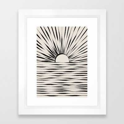 Minimal Sunrise / Sunset Framed Art Print -10x12 - vector white frame - Society6