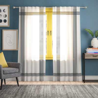 Eligah Cross Striped Semi-Sheer Tab Top Curtain Panels - set of 2 - Wayfair