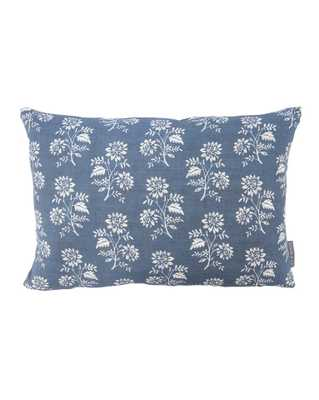 "CAMILLE NAVY FLORAL PILLOW WITHOUT INSERT, 12"" x 24"" - McGee & Co."