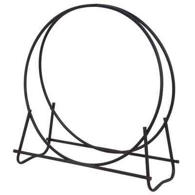 Black Wrought Iron 40 in. H Hoop Style Firewood Rack with Heavy Duty Steel Construction - Home Depot