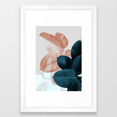 Blush & Blue Leaves Framed Art Print by Printsproject 15 x 21 - Society6