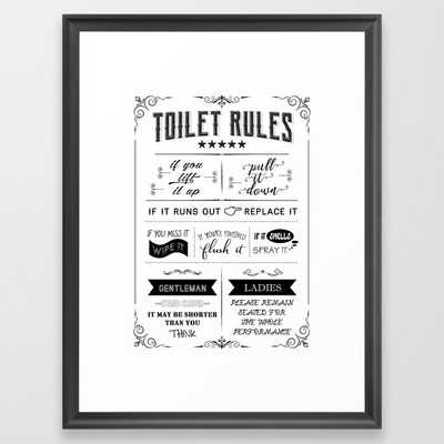 Toilet Rules Poster, Bathroom Print, Funny Quote, Toilet Sign, Restroom Decor, WC Sign, Bathroom Pri Framed Art Print - Society6