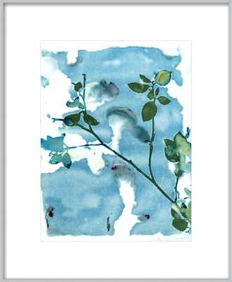 """Leaves And Sky - Frosted Silver Metal, frame width 0.25"""", depth 0.75"""" - With Matte - Artfully Walls"""