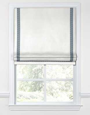 Flat Roman Shade  Lush Linen - White - Privacy Lined - Loom Decor