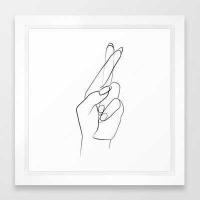 Fingers crossed Framed Art Print - Society6