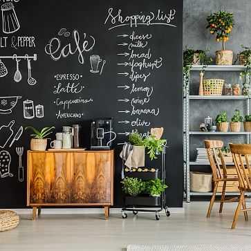 Peel & Stick TBY Chalkboard Wall Paper, Black - West Elm