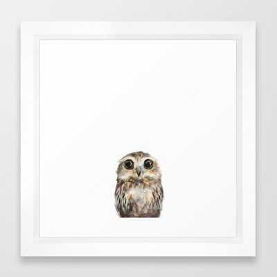 """Little Owl Framed Art Print, Vector White Frame, 12""""x12"""" - Society6"""