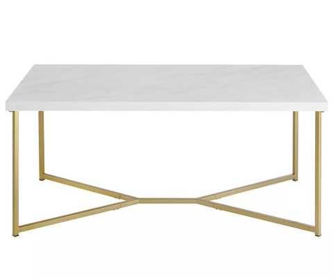 Mid Century Modern Coffee Table - Saracina Home, White/Gold - Target