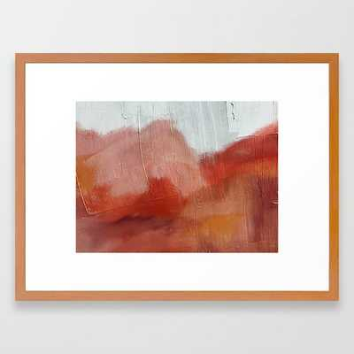 Desert Journey [2]: a textured, abstract piece in pinks, reds, and white by Alyssa Hamilton Art Framed Art Print - Society6