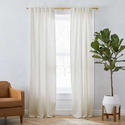"Belgian Flax Linen Unlined Curtain, Set of 2, Natural, 48""x84"" - West Elm"