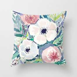 White Anemone Floral Throw Pillow - Society6