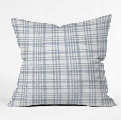 WINTER WATERCOLOR PLAID BLUE Throw Pillow - Wander Print Co.