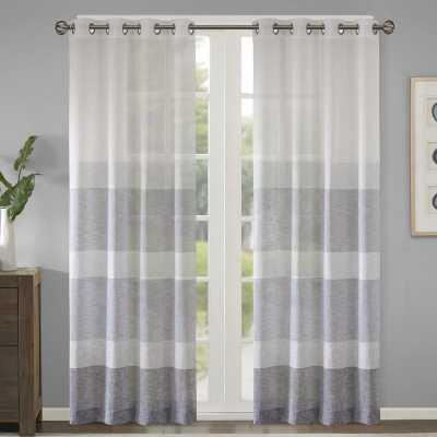 "Augustus Striped Grommet Single Curtain Panel, Navy, 50"" W x 95"" L - Wayfair"