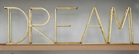 """""""Dream"""" Metal Cutout Free Standing Table Top Sign Gold - Lavish Home - Target"""
