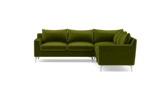 SLOAN Corner 4-Seat Sectional Sofa, Moss - Mod Velvet w/ Chrome Leg - Interior Define