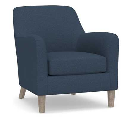 SoMa Burton Upholstered Armchair, Polyester Wrapped Cushions, Brushed Crossweave Navy - Pottery Barn